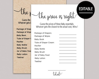 Price Is Right Baby Shower Game Etsy