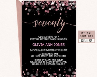 70th Surprise Birthday Invitation Instant Download Invitations For Women Seventy Elegant Black Pink Pdf
