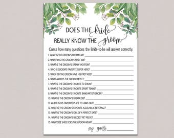 how well does the bride know the groom bride groom game greenery bridal shower game funny fun printable bridal shower question leaves b33