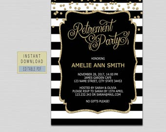 retirement invitation instant download retirement invitation for woman man retirement party invitations black gold retirement invites b21