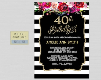 40th Birthday Invitations For Women Invites Instant Download Elegant Black Gold Surprise B20