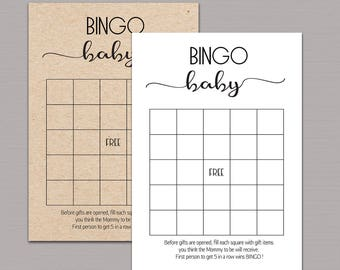 Baby Shower Bingo Cards Printable Game Rustic Instant Download B11