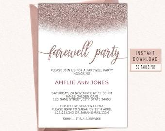 farewell party invitation download rose gold farewell invitation