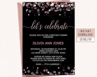 Celebrate invitation etsy celebrate invitation templates celebrate invite instant download lets celebrate invitation printable adult birthday party invite black maxwellsz