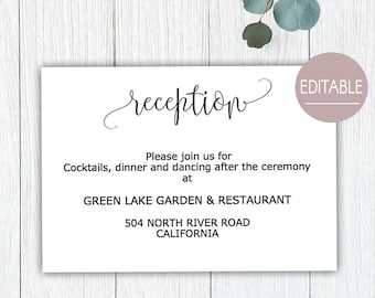 reception card etsy