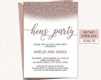 hen party invitation etsy