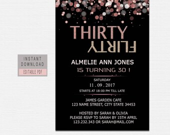 Dirty thirty invite etsy 30th birthday invitations for women thirty dirty invite 30th birthday invitation instant download female thirty invitations black pink filmwisefo