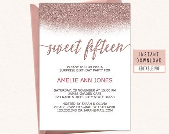 Sweet Fifteen Invitations 15th Birthday Invitation Girl Printable Rose Gold Elegant Invite Instant Download Editable Rosegold