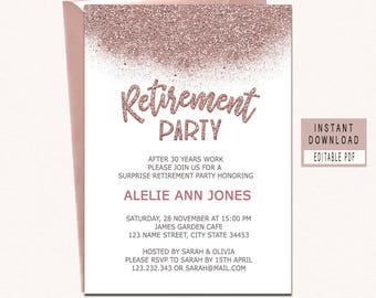 retirement invitation instant download rose gold retirement invitation for woman retirement party invitations surprise retirement invites