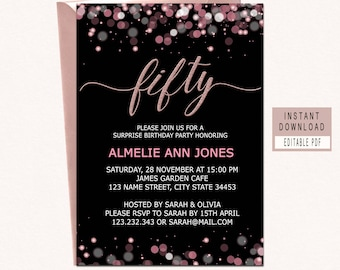 50th Birthday Invitations Instant Download Fifty Invitation And Fabulous Women Elegant Black Pink Rose Gold