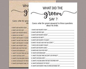 what did the groom say about his bride game what did the groom say rustic kraft funny fun country bridal shower game printable pdf b11