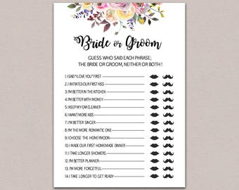 photograph about He Said She Said Bridal Shower Game Free Printable titled He claimed she claimed bridal shower recreation Bride or groom match Etsy