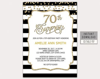 70th Surprise Birthday Invitation Instant Download Invitations For Women Man Invites Black Gold B32