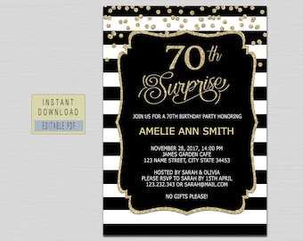 70th Surprise Birthday Invitation Instant Download Invitations For Women Invites Black And Gold B21