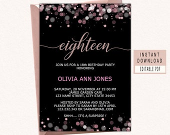 18th Birthday Invitations For Girls Eighteenth Invites Instant Download Eighteen 18 Invite Elegant Black Pink
