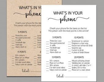 whats in your phone bridal shower game cell phone game whats in your cell phone game rustic bridal shower fun activities cards kraft b11