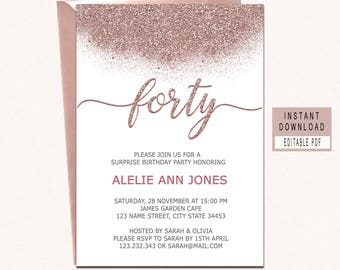 40th invitation etsy