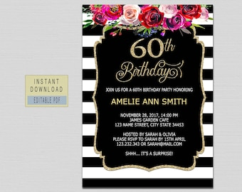 60th Birthday Invitations Instant Download Invites For Women Printable Adult Floral Black And Gold B20