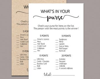 graphic about Bridal Shower Purse Game Free Printable identify Whats within just your purse Etsy