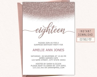 18th Birthday Invitation In Rose Gold Eighteenth Invites Instant Download Invitations For Girls Elegant Invite Pdf