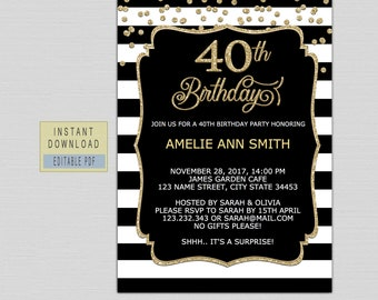 40th Birthday Invitations For Women Invites Instant Download Forty Invite Template Elegant Black Gold Surprise B21