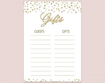 Gift List Template Etsy