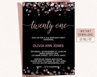 21st Birthday Party Invitation Invitations For Her Twenty One Invite Instant Download Modern Woman Black