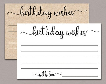Birthday Wish Cards Rustic Printable Milestone Write A Well Wishes Woman Party B11