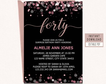 Forty And Fabulous Invitation 40th Birthday Invitations For Women Invites Instant Download Elegant Black Pink Rose Gold