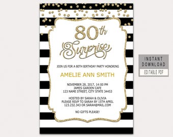 80th Surprise Birthday Invitation Instant Download Invitations For Women Party Invites Black Gold B32