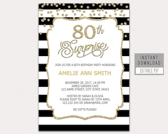 70th surprise birthday invitations for women surprise party 80th surprise birthday invitation instant download 80th birthday invitations for women surprise 80th birthday party invites black gold b32 filmwisefo