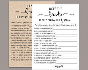 how well does the bride know the groom bride groom game rustic bridal shower game funny fun printable bridal shower question game b11