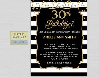 30th Birthday Invite Etsy