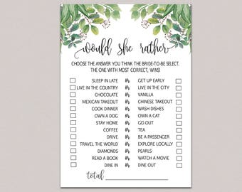 photograph regarding Would She Rather Bridal Shower Game Free Printable referred to as Would bride as an alternative Etsy
