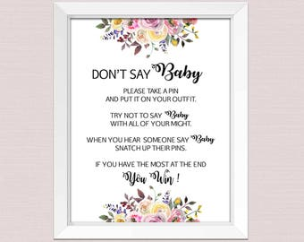 graphic relating to Don't Say Baby Sign Free Printable identified as Flower dont say kid Etsy