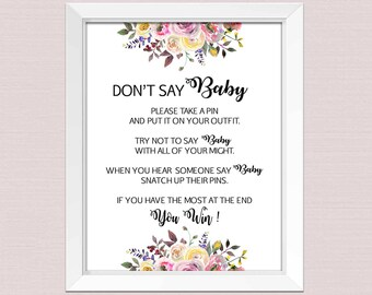Beige Teddy Bear Don T Say Baby Game Sign Baby Shower Etsy