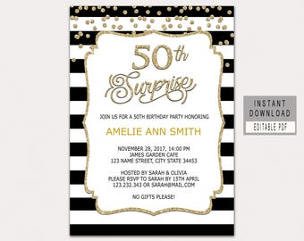 Surprise 50th Birthday Invitations Etsy