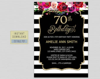 70th Birthday Invitation Instant Download Invite Party Template For Woman Floral Black And Gold B20
