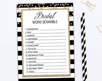 bridal word scramble game bachelorette party games bridal game pdf black gold bridal shower games instant download game template bl1