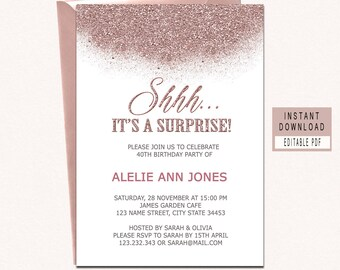 rose gold invitation etsy