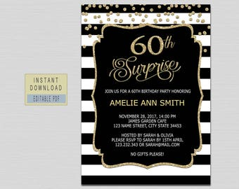 Surprise 60th birthday invitations etsy 60th surprise birthday invitations woman 60th surprise invitation instant download 60th surprise party surprise 60th black and gold b21 filmwisefo