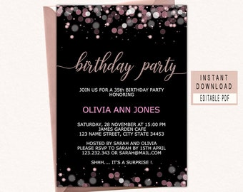Birthday Party Invitations Instant Download Woman Invitation Adult Invites Templates Elegant Modern Black Pink