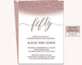 50th Birthday Invitations Instant Download Fifty Invitation And Fabulous For Women Elegant Rose Gold Invites