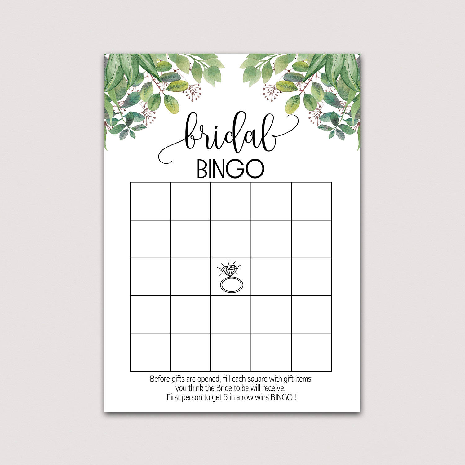 graphic regarding Free Printable Bridal Shower Bingo referred to as Greenery Bridal shower bingo playing cards, BRIDAL BINGO Playing cards, bridal bingo printable, bridal bingo recreation, Eco-friendly Wreath, Environmentally friendly Leaves bouquets B33