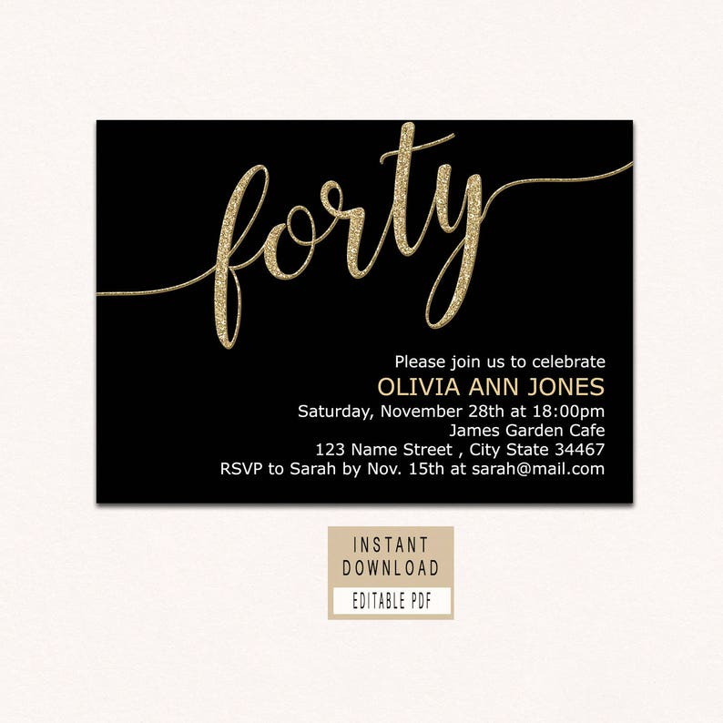 Forty And Fabulous Invitation 40th Birthday Invitations For Etsy