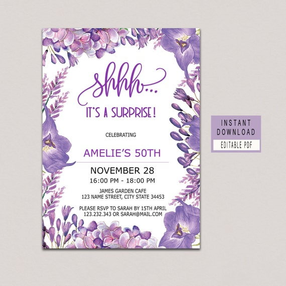 SURPRISE BIRTHDAY INVITATION Instant Download Purple Floral