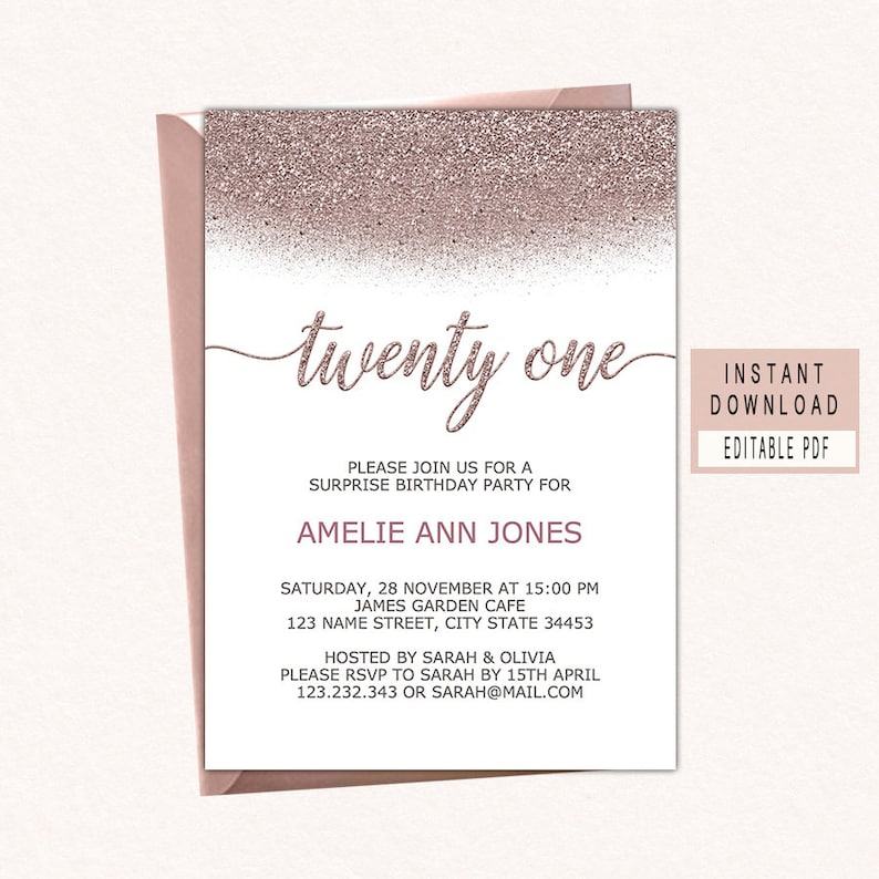 21st Birthday Party Invitation Rose Gold