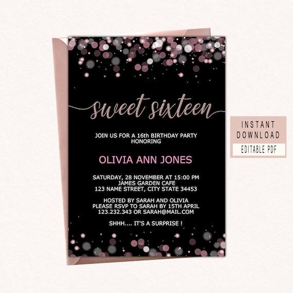Sweet Sixteen Invitations 16th Birthday Invitation Girl