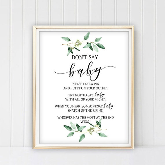 picture relating to Don T Say Baby Game Printable known as Dont say kid match printable, dont say child indicator, dont say youngster boy or girl shower activity, Greenery youngster shower game titles leaves Immediate Obtain B61