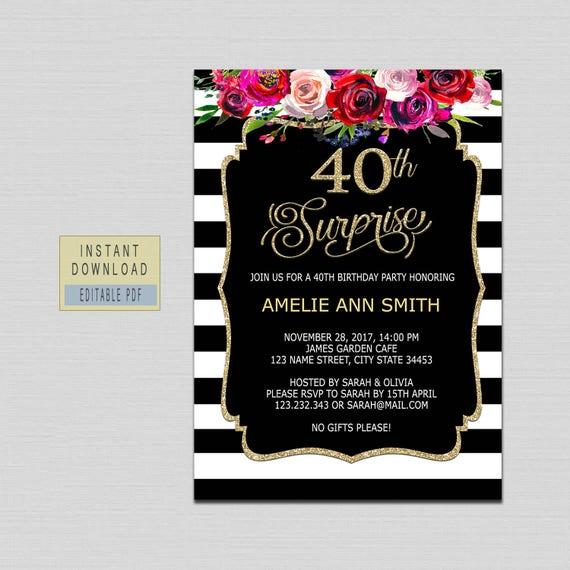 Surprise 40th Birthday Invitation Invites For